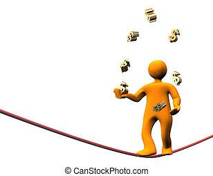 Finance Dollar Jongleur - 3D illustration looks orange...