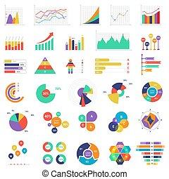 finance, ensemble, coloré, business, graphiques, analytics, vecteur, présentation, diagrammes, illustration.