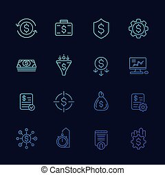 finance, financial and money management line icons - finance...