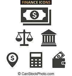 Finance flat icons set on white background.