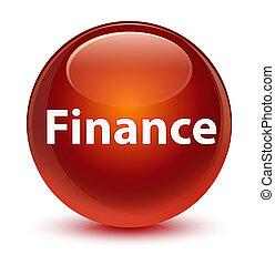 Finance glassy brown round button