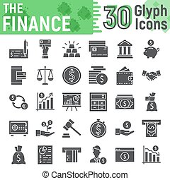 Finance glyph icon set, banking symbols collection, vector sketches, logo illustrations, money signs solid pictograms package isolated on white background, eps 10.