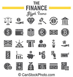 Finance glyph icon set, business signs collection