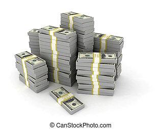 finance, grand, espèces, fond, argent, pile