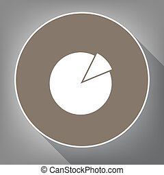 Finance graph sign. Vector. White icon on brown circle with white contour and long shadow at gray background. Like top view on postament.