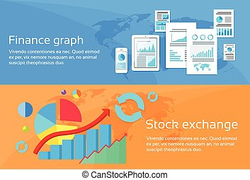 Finance Graph Stock Exchange Chart Web Banner Set Flat...