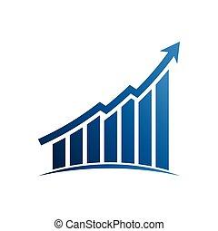 Finance graphic bars up profit arrow. Vector Illustration...