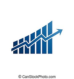 Finance graphic bars up rising arrow. Vector Illustration...
