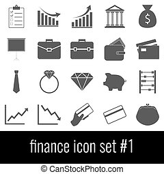 Finance. Gray icons on white background.