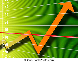 Finance Growth - Orange growth arrow over green numbers...