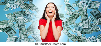 amazed laughing young woman in red dress - finance, ...