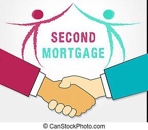 finance, hypothèque, projection, -, illustration, crédit, seconde, icône, ligne, propriété, 3d