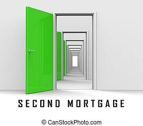 finance, hypothèque, projection, -, porte, illustration, crédit, seconde, ligne, propriété, 3d