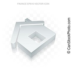 Finance icon: Flat metallic 3d Home, transparent shadow, EPS 10 vector.