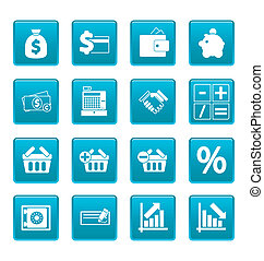Finance icons on blue squares