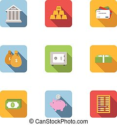 Finance icons set, flat style