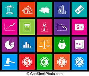 Finance icons set in Metro style