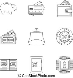 Finance icons set, outline style