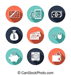 Finance Icons with Shadow