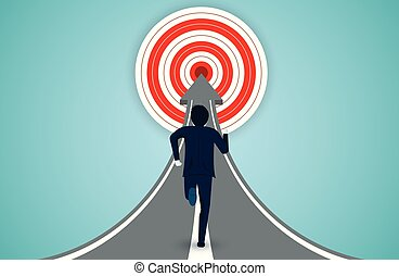 finance, idea., affaires illustration, hommes affaires, concept., target., courant, vecteur, créatif, dessin animé, rouges, cercle, direction, flèche