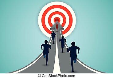 finance, idea., affaires illustration, hommes affaires, startup., concurrence, concept., target., courant, vecteur, créatif, dessin animé, rouges, cercle, direction, flèche