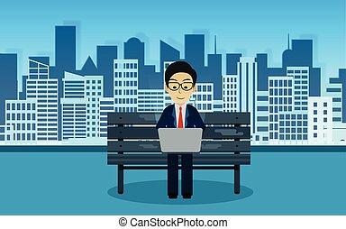 finance, idea., business, notebook., concept., jouer, chaise, informatique, parc, créatif, vecteur, illustration, homme affaires, derrière, séance, city.