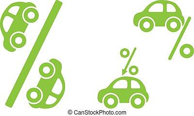 finance, illustration, ligne, taux, prêt, concept., embauche, vecteur, boîte, icon., sujets, être, aimer, utilisé, intérêt, voiture, banque, louer, achat, credit.