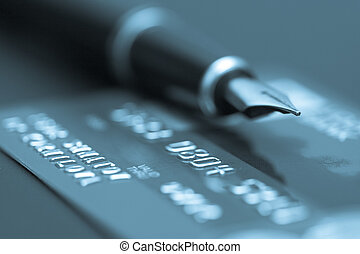 Image of money, credit cards, checks and coins