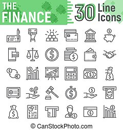 Finance line icon set, banking symbols collection, vector sketches, logo illustrations, money signs linear pictograms package isolated on white background, eps 10.