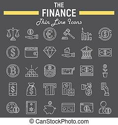 Finance line icon set, business symbols collection