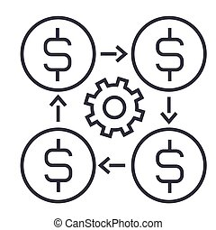 finance management linear icon, sign, symbol, vector on isolated background