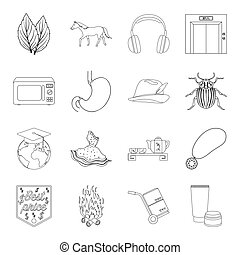 finance, medicine, cooking and other web icon in outline...