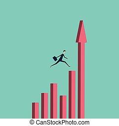 finance., minimalista, vector, empresa / negocio, éxito, encima, stile., saltar, desafío, símbolo, valor, abismo, hombre de negocios, concept., riesgo