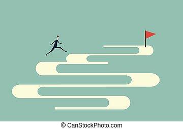 finance., minimalista, vector, empresa / negocio, plano, encima, éxito, saltar, desafío, valor, riesgo, abismo, hombre de negocios, concept., símbolo, design.