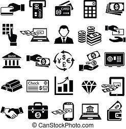 finance money icon set, exchange, bank, gold, business man, ...