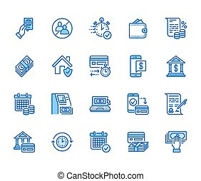 Finance, money loan flat line icons set. Quick credit approval, transaction, no commission, cash deposit atm vector illustration. Thin signs for banking. Pixel perfect 64x64 Editable Strokes