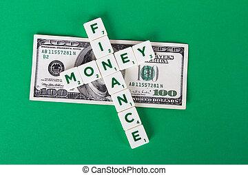 Finance, Money Words and Dollar Bill