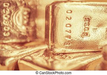 finance, or, banque, concept., commercer, metals., fond, barres., bullions., précieux, brillant
