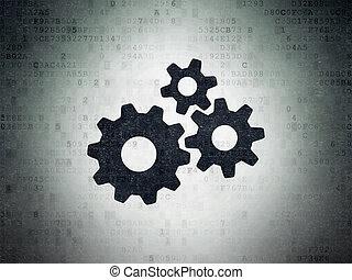 finance, papier, engrenages, fond, numérique, données, concept:
