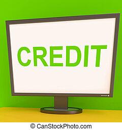 finance, prêt, achat, ou, crédit, dette, écran, spectacles
