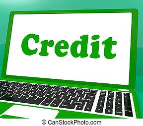 finance, prêt, achat, ou, crédit, ordinateur portable, spectacles