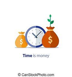 finance, retour, business, sacs, horloge, argent, paiement, annuel, investissement, argent, vecteur, croissance, temps, revenu, icône