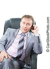 finance., riuscito, affari, questo, .business, isolato, telefono, mobile, fondo, serie, uomo, portafoglio, bianco, più, mio, discorso, attraente
