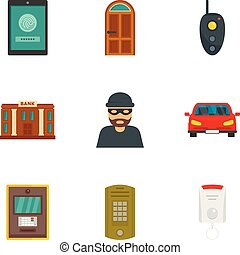 Finance security icon set, flat style
