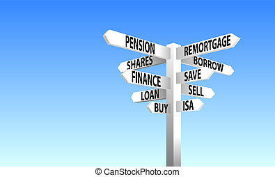 Financial decisions sign post vector