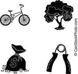 finance, sport and other web icon in black style.nature, fitness icons in set collection.