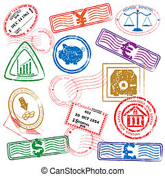 finance stamps icon set vector eps10