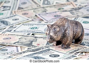 Finance, stock exchange. The bear costs on money