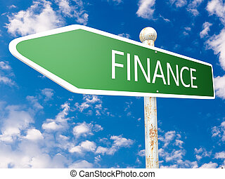 Finance - street sign illustration in front of blue sky with...