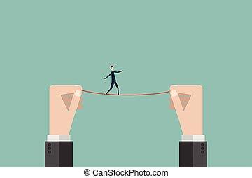 finance., strategie, draad, verantwoordelijkheid, zakelijk, minimalist, gevaar, bewindvoering, doelstellingen, symbool, tightrope, evenwichten, hoog, vector, boven, wandelingen, zakenman, missie, style., man
